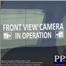 1 x Front View Camera In Operation Stickers-WINDOW CCTV Signs-Van,Taxi,Car,Cab